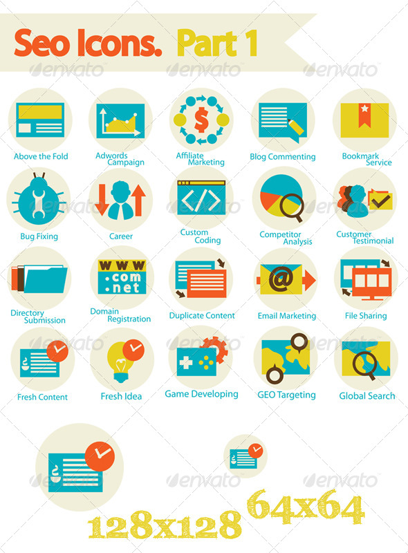 SEO Icons Set Part 1 - Web Icons