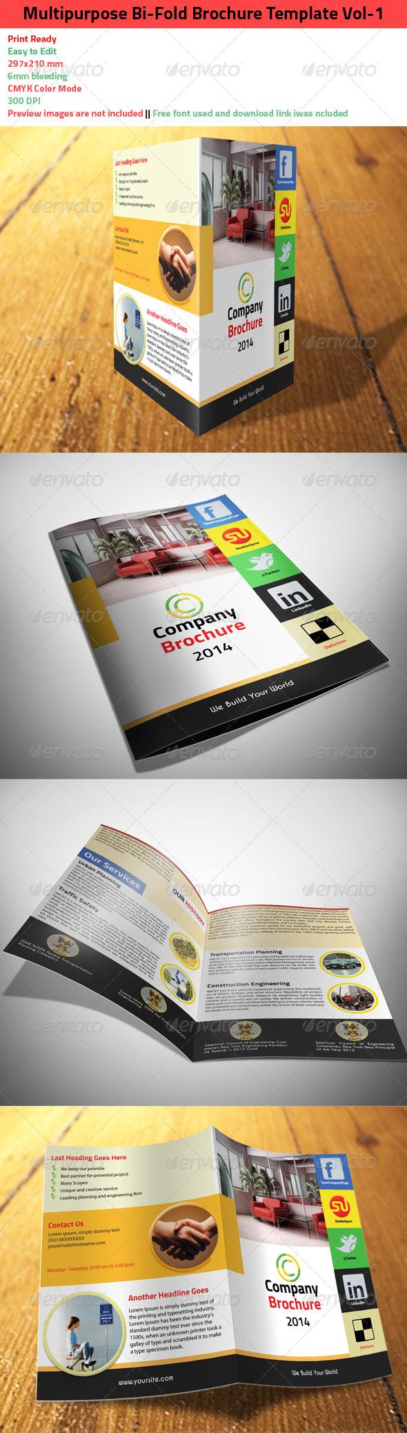 Multipurpose Bi-Fold Brochure Template Vol-1 - Corporate Brochures