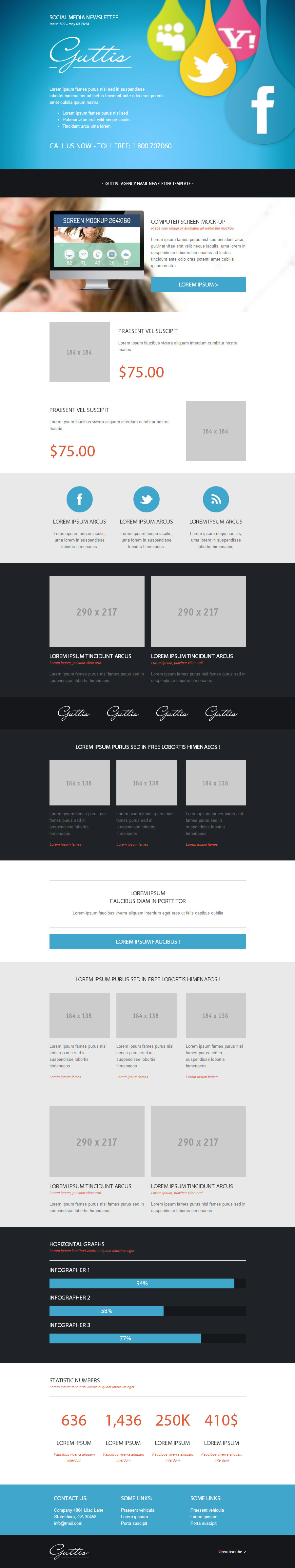 Guttis - Responsive Email Newsletter Template by robbiewilliams ...