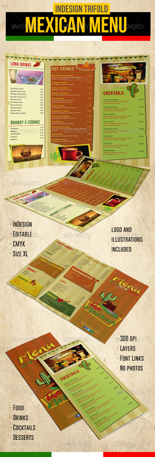Mexican Trifold Menu - Food Menus Print Templates