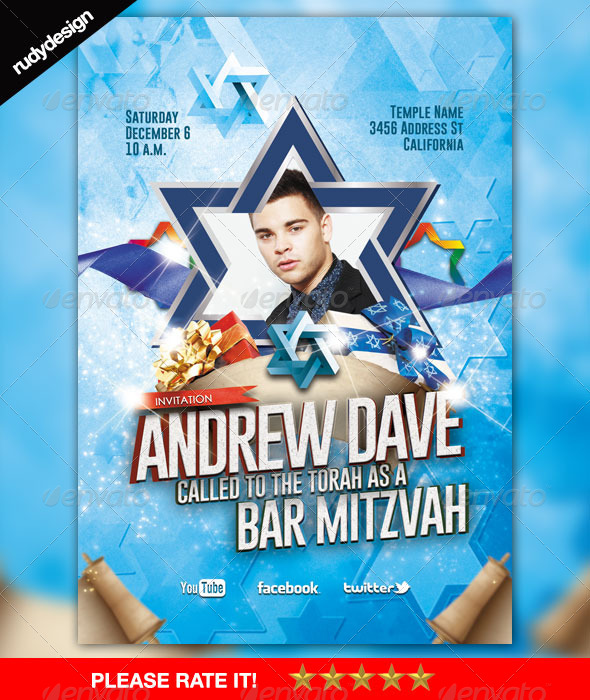Bar Mitzvah Bat Mitzvah Modern Flyer Template - Events Flyers