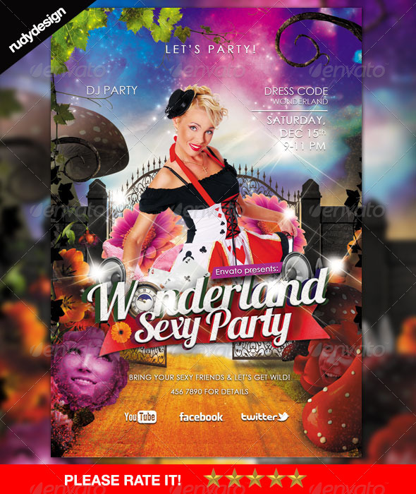 sexy alice in wonderland party theme flyer events flyers