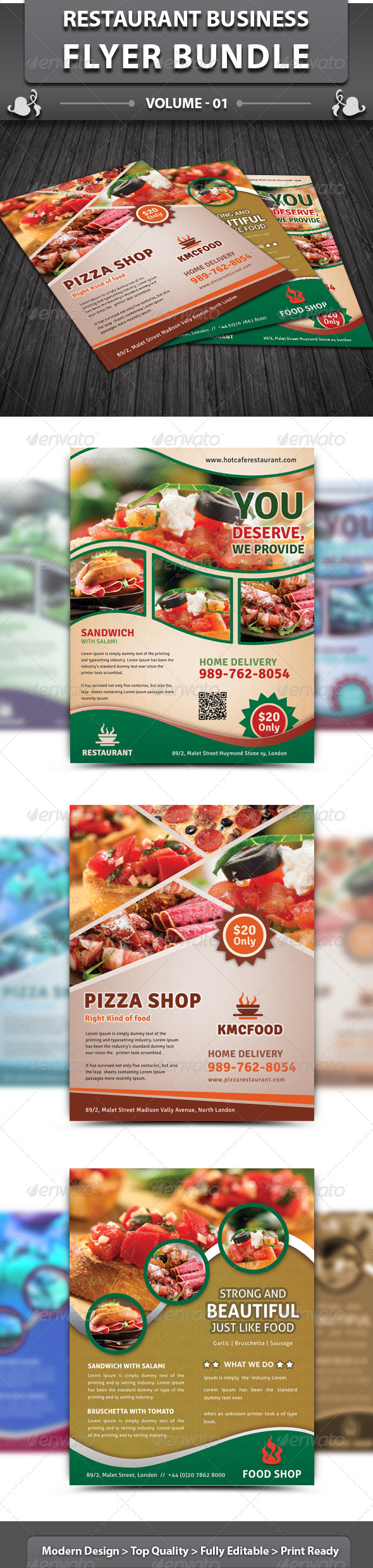Restaurant Business Flyer | Bundle 1 - Restaurant Flyers