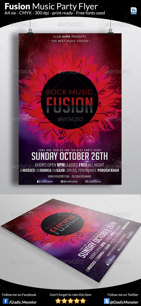 Rock Fusion Music Flyer - Clubs & Parties Events