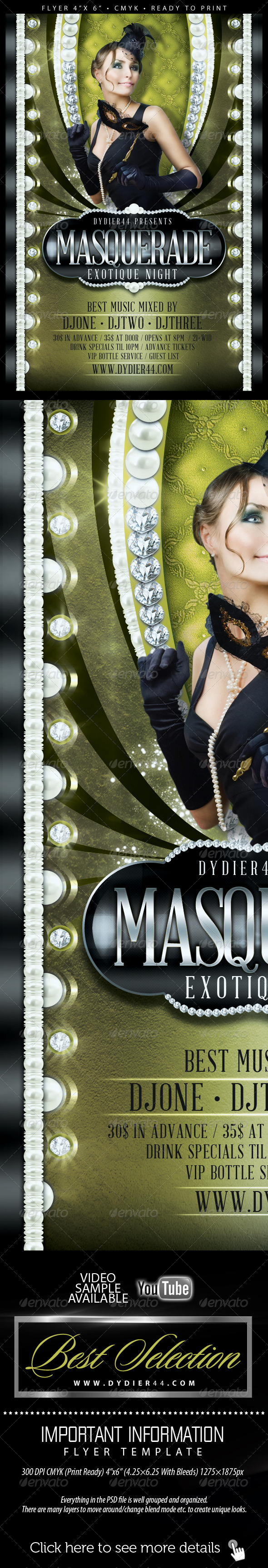 Masquerade (Flyer Template 4x6) - Flyers Print Templates