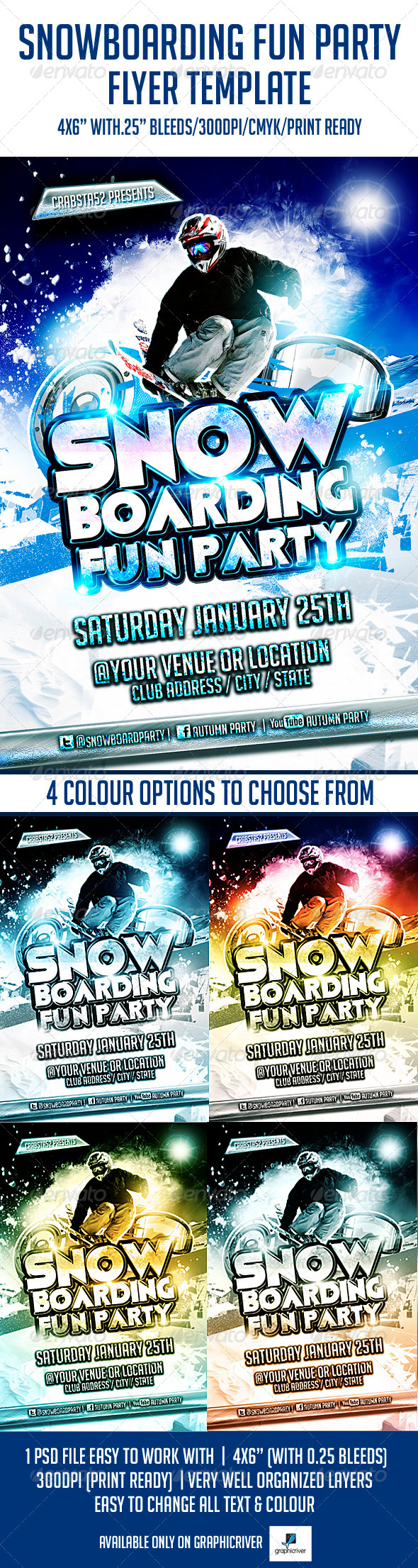 Snowboarding Fun Party Flyer Template - Flyers Print Templates