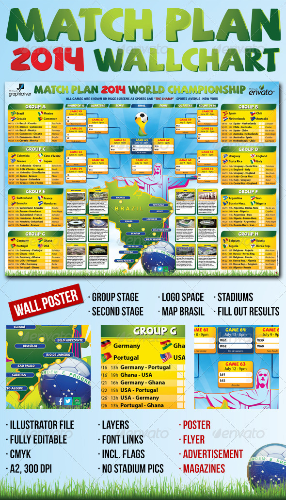 Matchplan 2014 Wallchart - Sports Events
