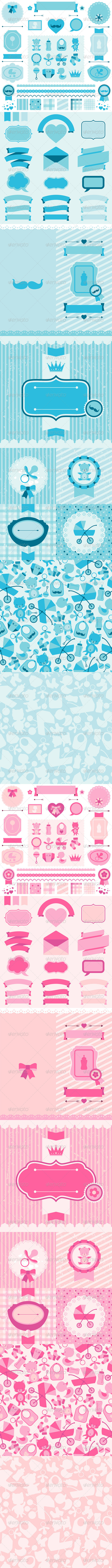 Boy and Girl Baby Shower Elements and Backgrounds. - Birthdays Seasons/Holidays