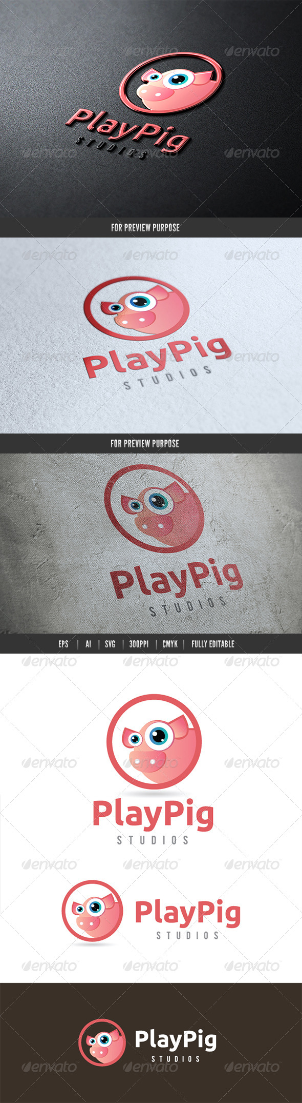 Play Pig - Animals Logo Templates