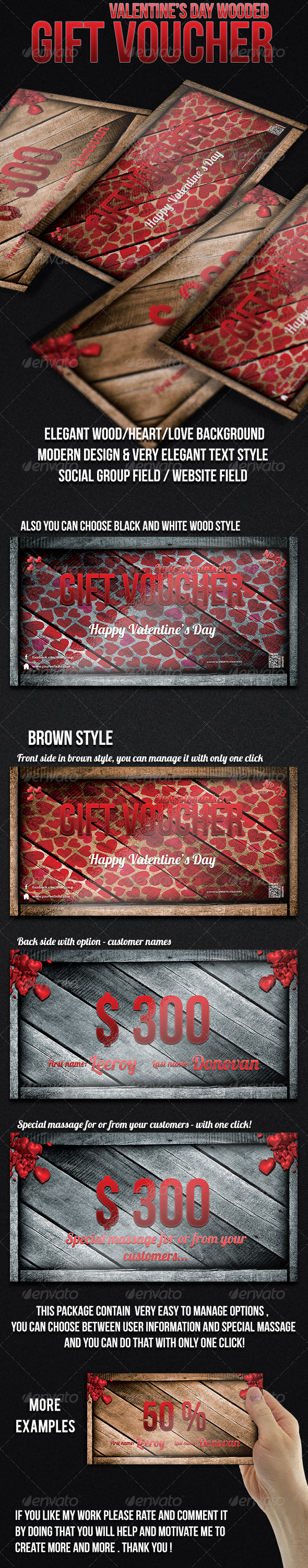 Valentine's Day Gift Voucher - Cards & Invites Print Templates