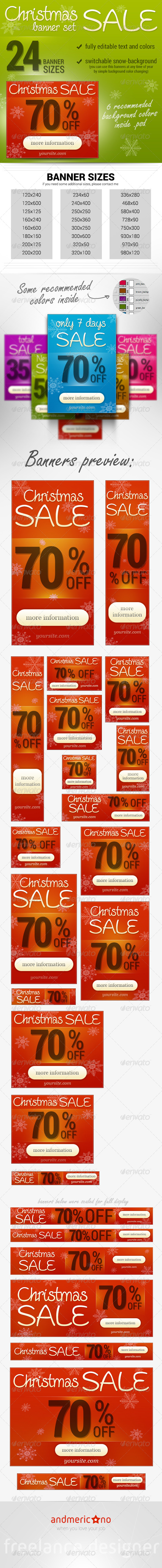 Christmas Banner Set - Banners & Ads Web Elements