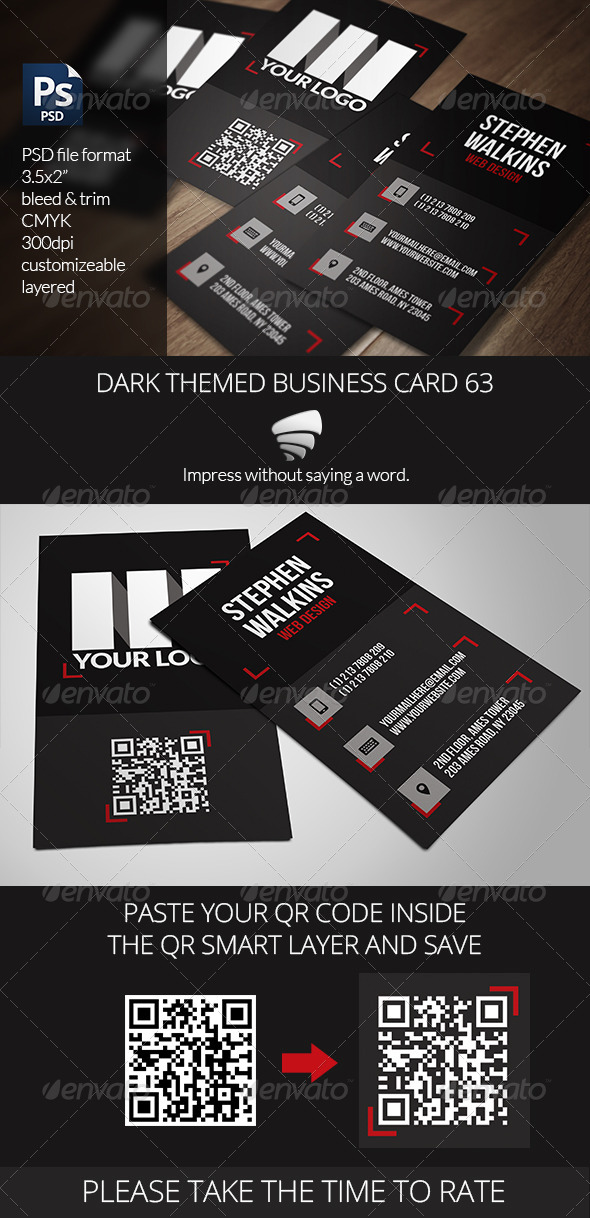 Dark Themed Business Card 63 - Corporate Business Cards