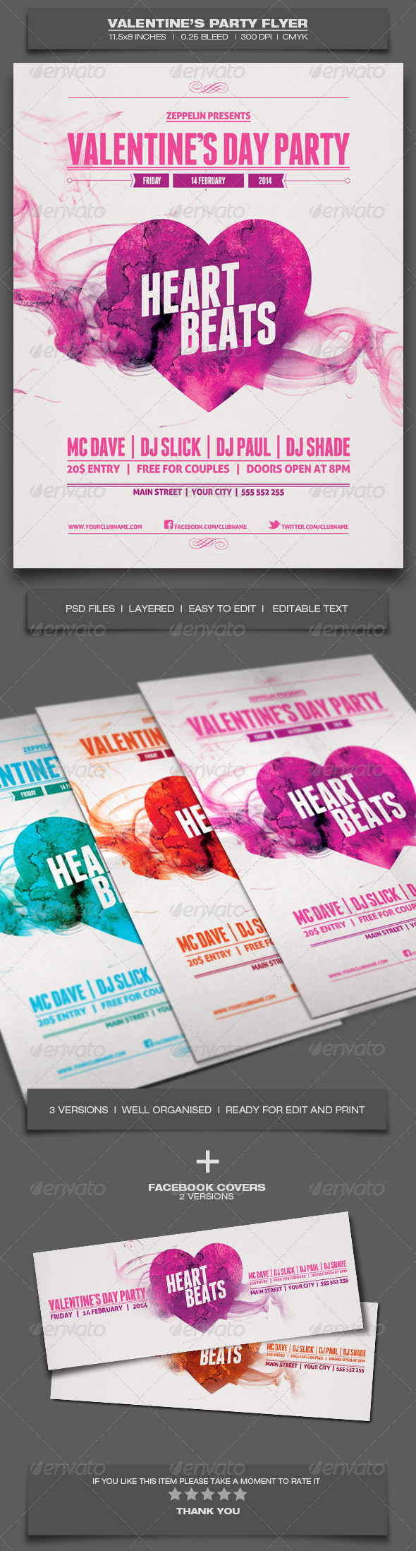 Valentine's Day Party - Event Flyer Template - Holidays Events