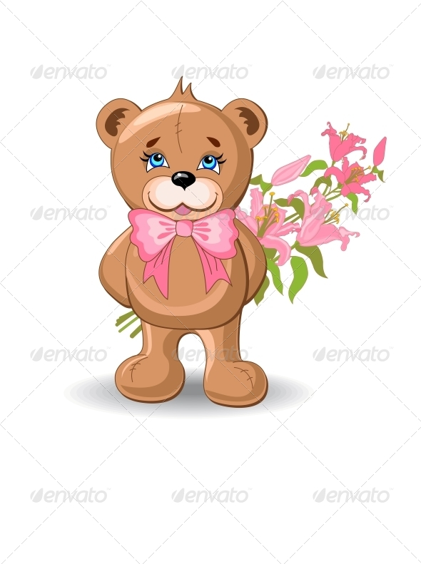 Holiday Background With Bear - Birthdays Seasons/Holidays