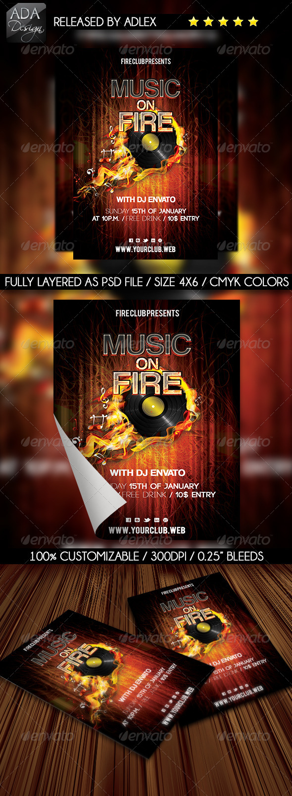Music on Fire Party Flyer  - Clubs & Parties Events