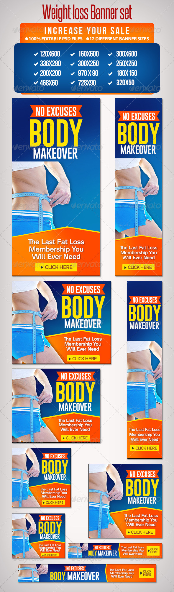 Weightloss Banner Set 3 - 12 Google Standard Sizes - Banners & Ads Web Elements