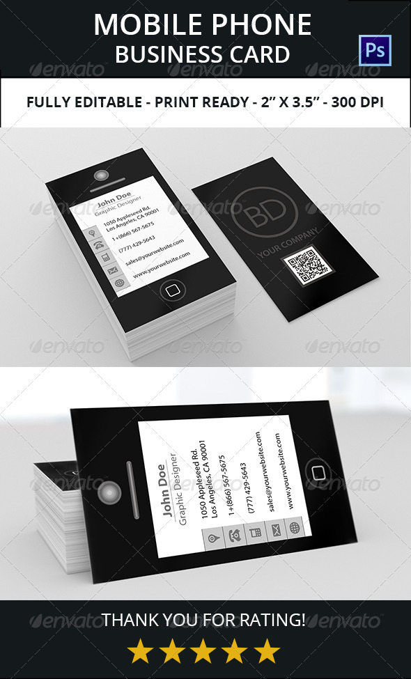 Mobile phone business card 1 by bdent graphicriver mobile phone business card 1 creative business cards colourmoves