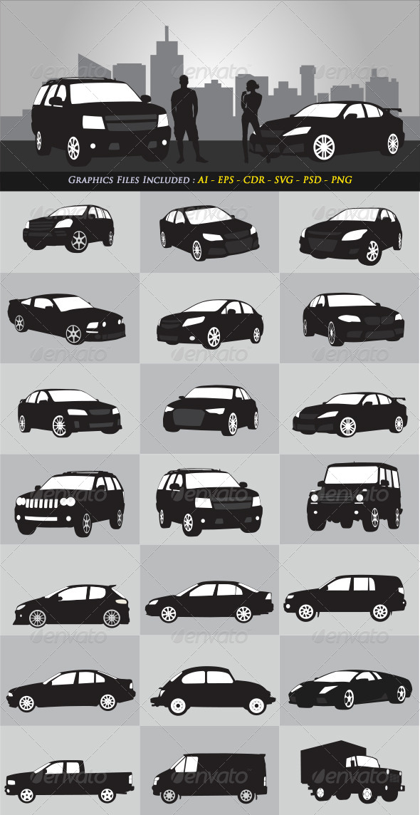 Car Silhouettes - Objects Vectors