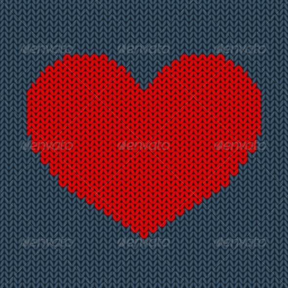 Red Knitted Heart - Valentines Seasons/Holidays