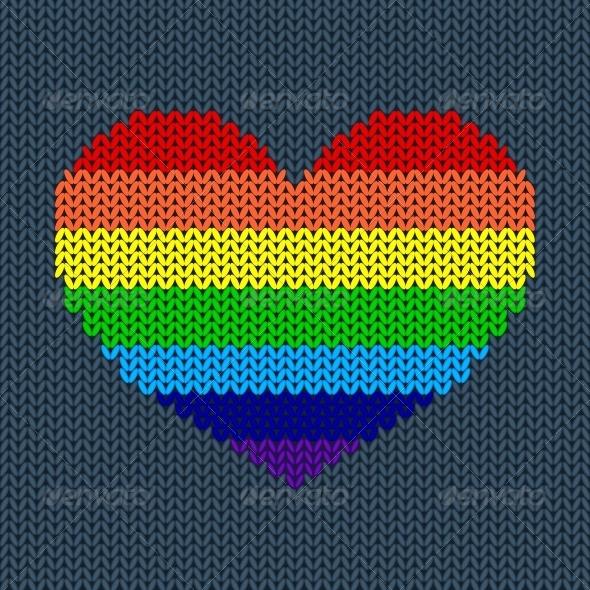 Rainbow Knited Heart - Valentines Seasons/Holidays