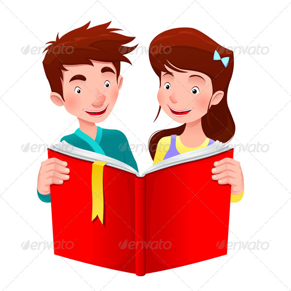Boy and Girl are Reading a Book - People Characters