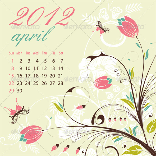Calendar for 2012 April - New Year Seasons/Holidays