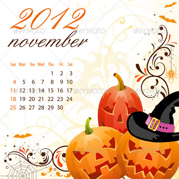 Calendar for 2012 November - New Year Seasons/Holidays