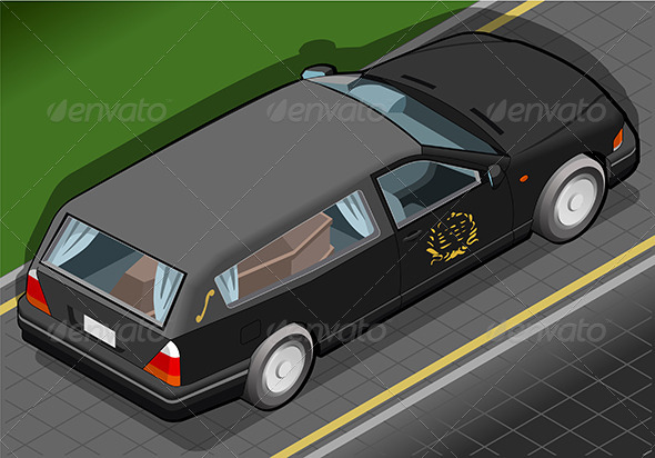 Isometric Hearse in Rear View - Objects Vectors