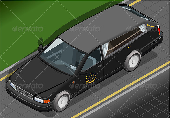 Isometric Hearse in Front View - Objects Vectors