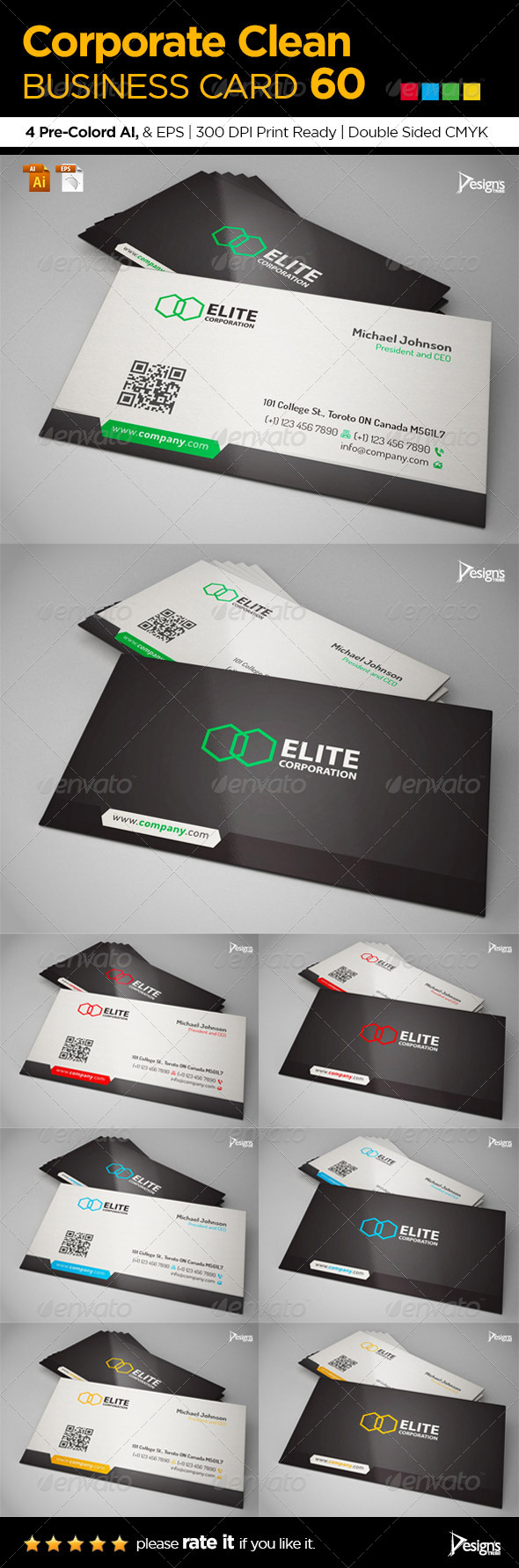 Corporate Clean Business Card 60 - Corporate Business Cards