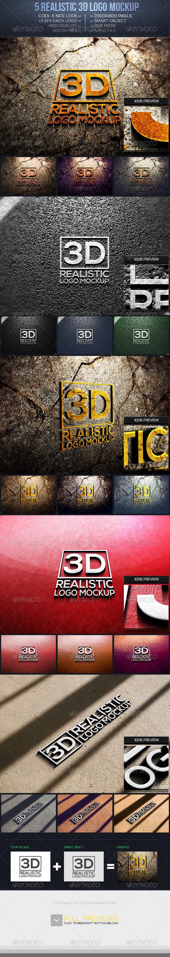 3D Logo Mockup Vol.1 - Logo Product Mock-Ups