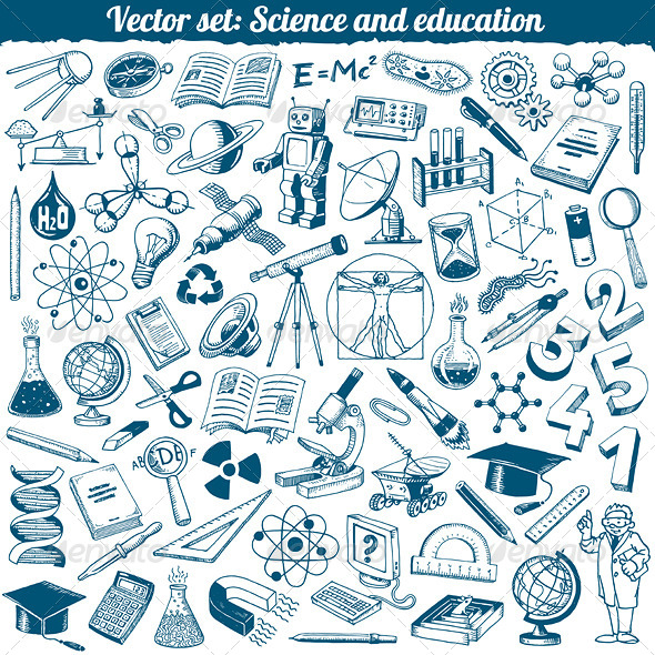 Science and Education Vector Set - Objects Vectors