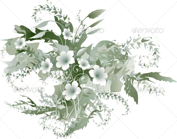 Delicate Floral Grisaille - Flowers & Plants Nature