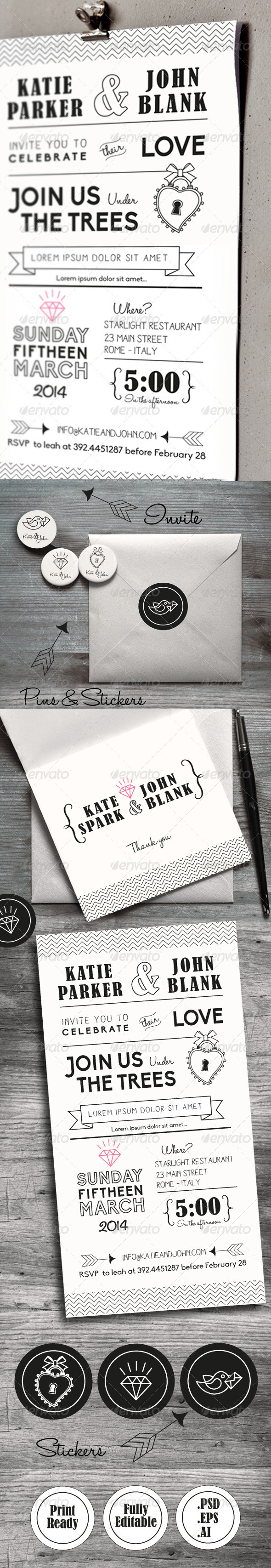Wedding Invitation Set - Cards & Invites Print Templates