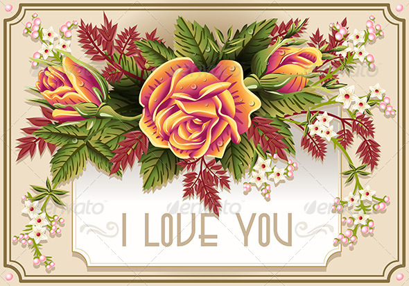 Roses Ornament on Vintage Frame - Decorative Vectors