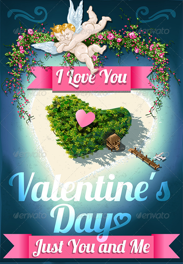 Heart Shaped Tropical Island with Romantic Resort - Valentines Seasons/Holidays