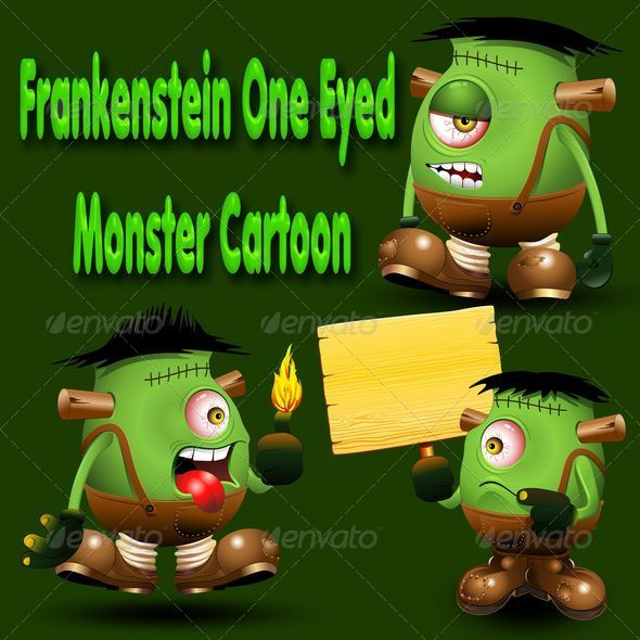 Frankenstein Monster one Eyed Cartoon - Monsters Characters