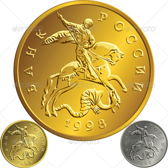 Gold Russian Rubel Coin - Business Conceptual