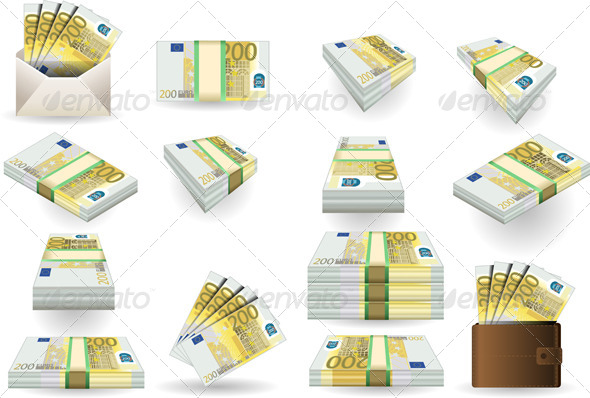 Full Set of Two Hundred Euros Banknotes - Objects Vectors