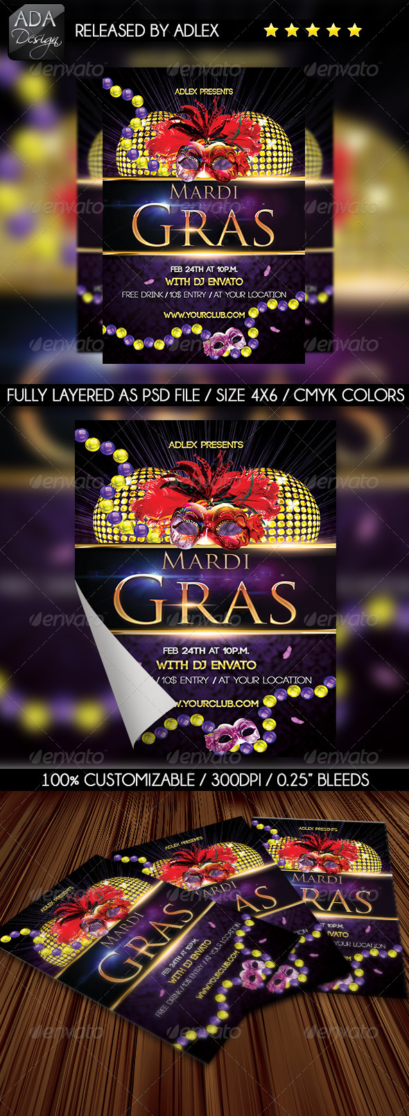 Mardi Gras Carnival - Masquerade Flyer - Holidays Events