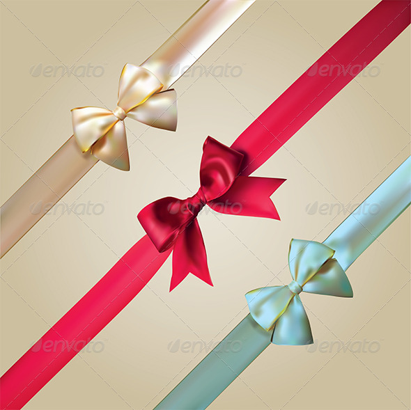 Corner Ribbons with Bows Set Illustration - Objects Vectors