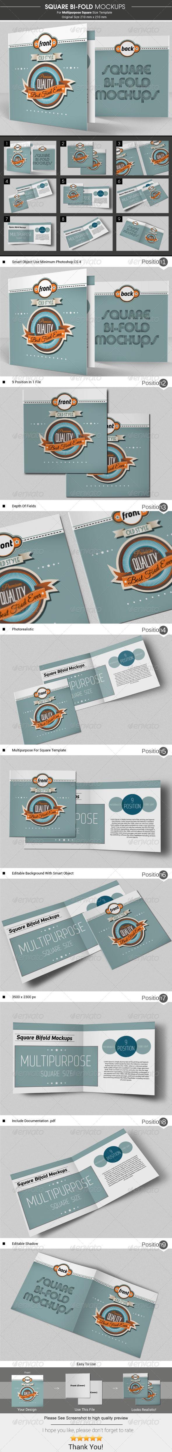 Square Bi-Fold Brochure Mockups - Brochures Print