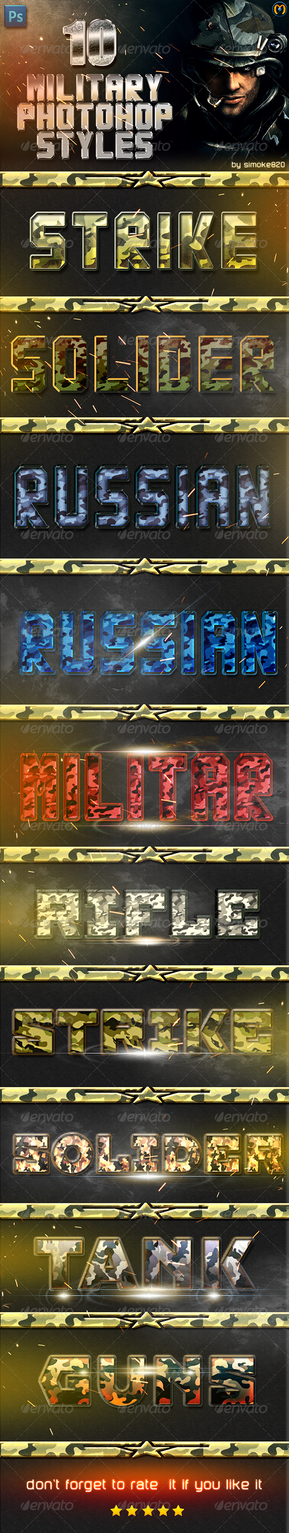 Military Photshop Styles V.1 - Text Effects Actions
