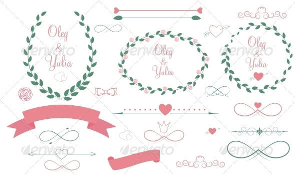 Set of Wedding Graphic Elements - Valentines Seasons/Holidays