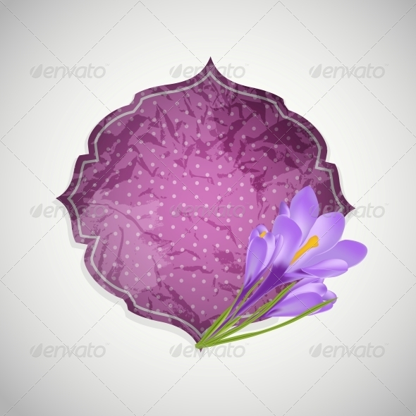 Aged Paper Label with Flower - Decorative Symbols Decorative