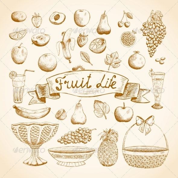 Sketches of Juicy Fresh Fruits - Food Objects