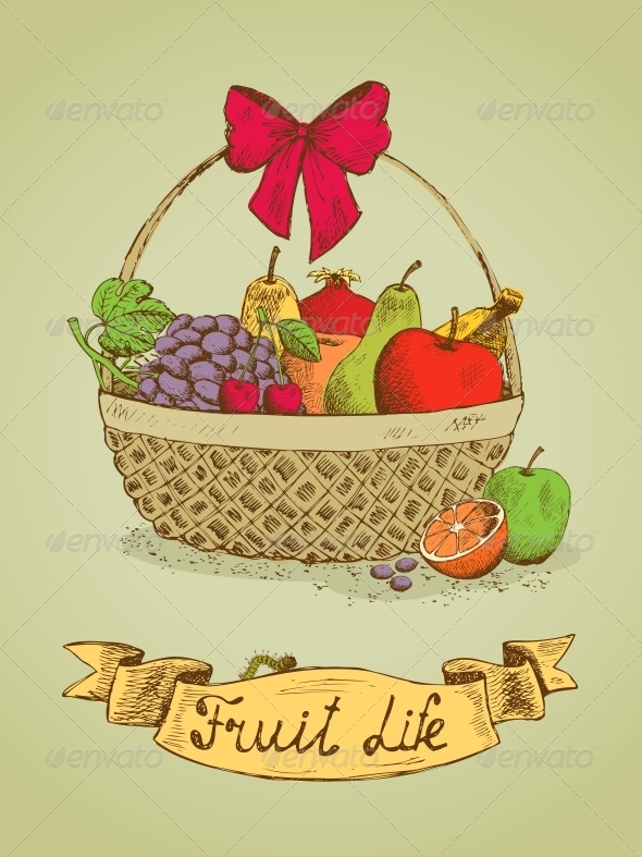 Fruit Life Gift Basket with Bow Emblem - Food Objects