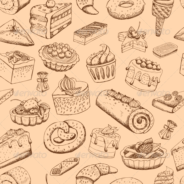 Seamless Sweet Pastries - Backgrounds Decorative