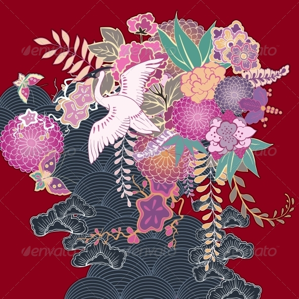 Vintage Kimono Floral Motif - Decorative Symbols Decorative