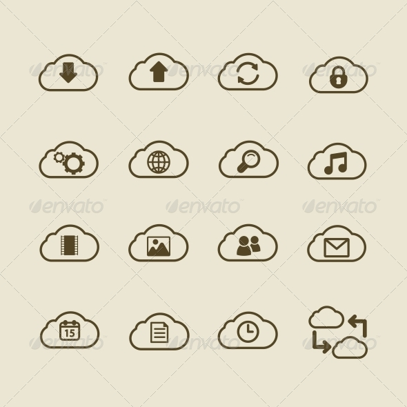 Generic Cloud Computing Flat Icon Set - Web Elements Vectors